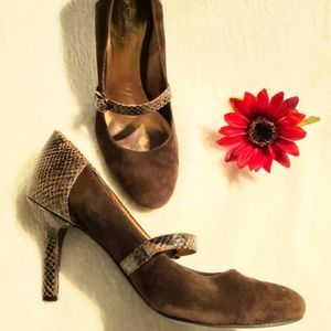 Anne Klein Shoes 81/2 Brown Snake Skin/Suede
